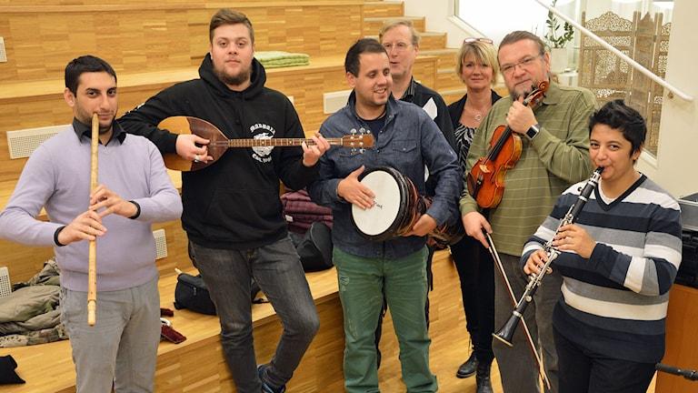 Mac Soul, orkester från Makedonien, spelar på Världskulturfestivalen på Bäckby i helgen. Foto: Monica Elfström/Sveriges Radio.