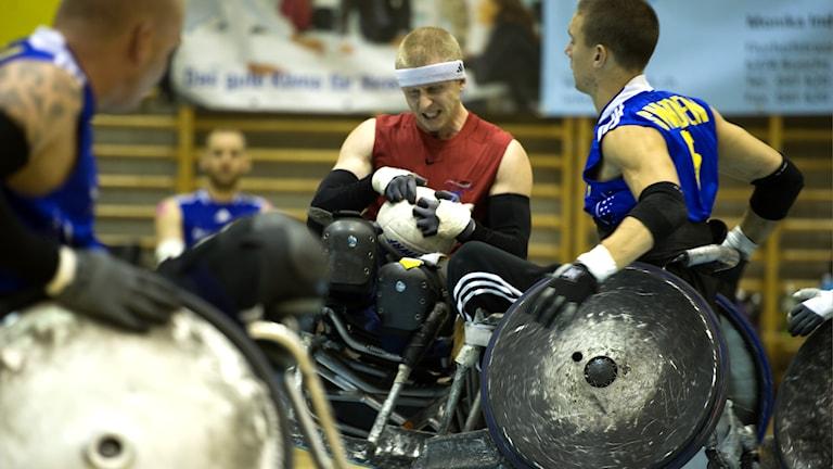 Rullstolsrugby en av Handikapidrottförbundets 19 idrotter. Foto: Martin Nauclér