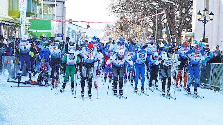 Eliten startar i Engelbrektsloppet. Foto: Eva Kleppe/Sveriges Radio.