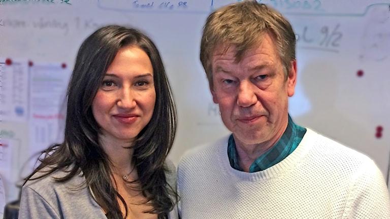 Ministern Aida Hadzialic och skolchefen Tomas Aronsson. / Foto: Terje Lund. Sveriges Radio.
