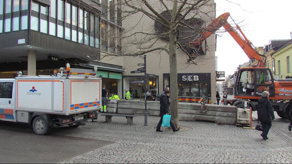 Under dagen har vattenläckan i Västerås lagats. Foto:Erika Mårtensson/SR