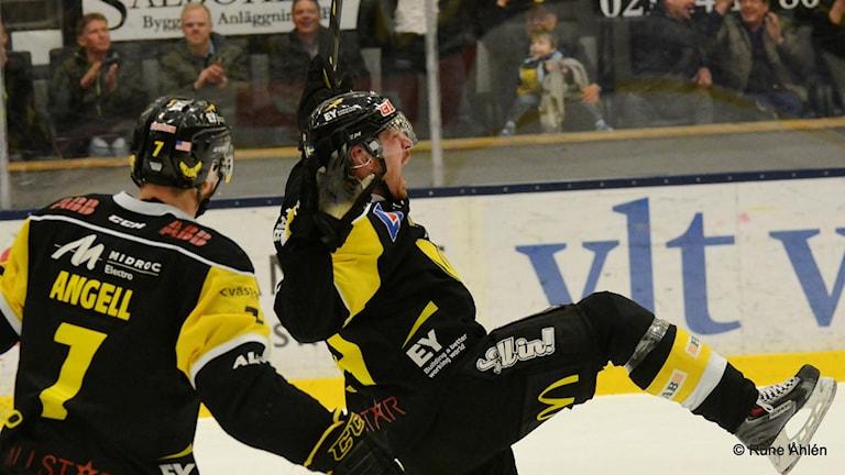 VIK Hockeys Stefan Gråhns skriker ut sin glädje efter sitt mål mot Rögle. Foto: Rune Åhlén.