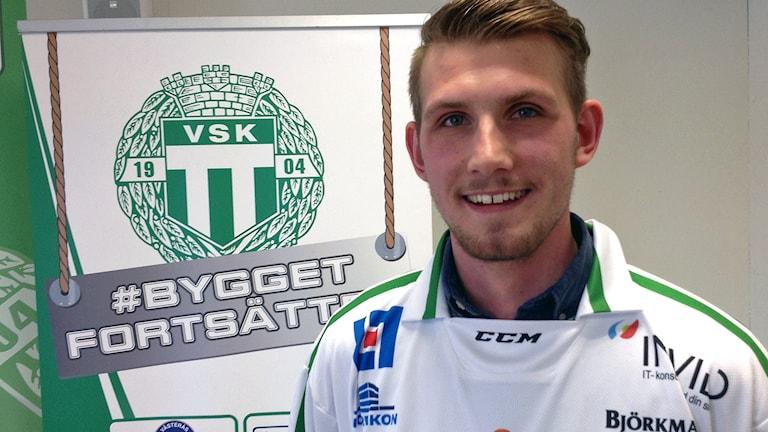 VSK Bandys nyförvärv Simon Jansson. Foto: Johan Bengts/SR.