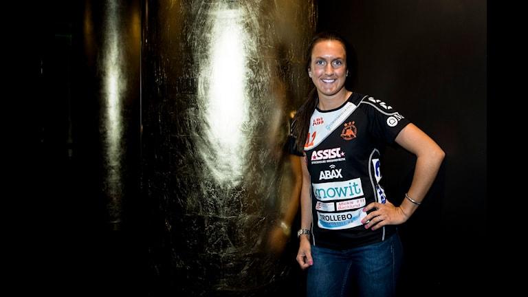 Rönnbys Madelene Backlund under pressträff inför innebandyns SM-finaler. Foto: Nora Lorek / TT.