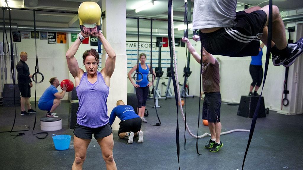 Kvinna tränar crossfit Foto: Jens L´Estrade / TT
