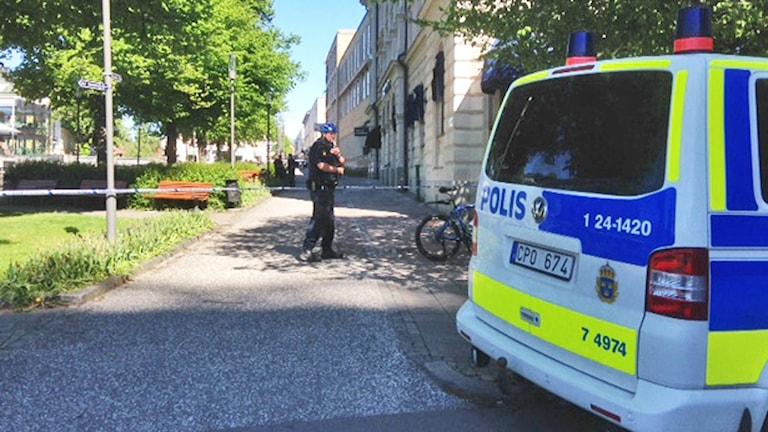 Polisavspärrning vid Munkgatan. Foto: Eva Kleppe/Sveriges Radio.