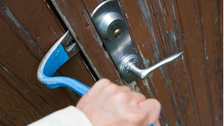 En inbrottstjuv bryter upp dörren till en bostad med hjälp av en kofot. Foto: Foto: Henrik Montgomery/TT.