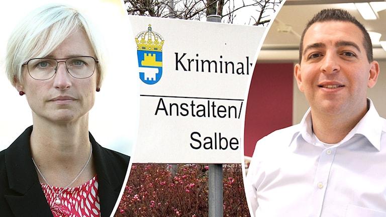 Åsa Eriksson till vänster, Roger Haddad till höger och mellan dem bild på skylt från Salbergaanstalten.