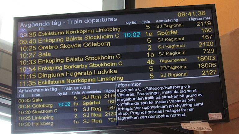 Förseningar i tågtrafiken. Foto: Inga Korsbäck/Sveriges Radio.