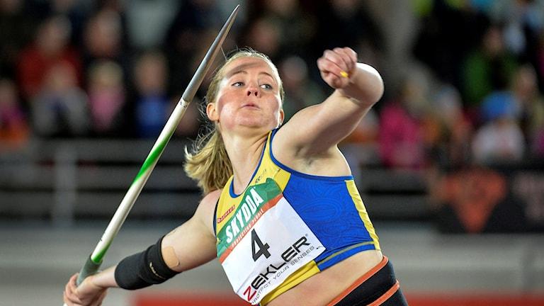 Spjutkastaren Sofi Flink från Hallstahammar. Foto: Anders Wiklund/TT.