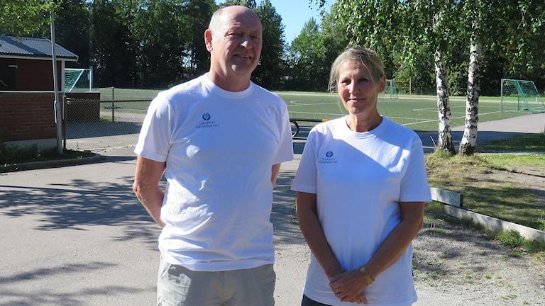 Lars Fröistedt och Solveig Nygren från Lärarnas Riksförbund i Västerås. Foto: Monica Elfström/Sveriges Radio.