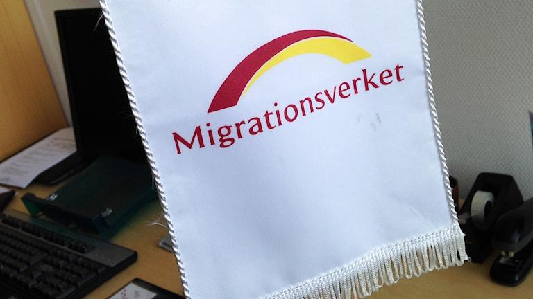 Migrationsverket standar. Foto: Kennet Lindquist/Sveriges Radio.