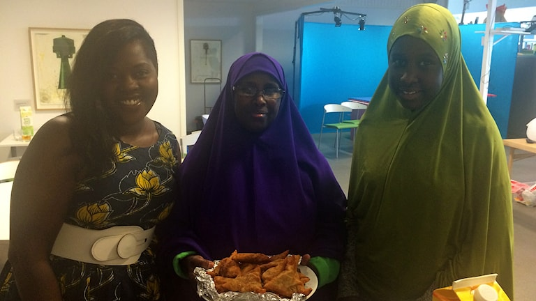 Diana Kambugu, Zainab Jimale och Fathi Hussein. Foto: Monica Elfström/Sveriges Radio.