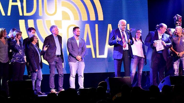 Kanalchef Kent Nilsson höll tacktalet på Radiogalan. Foto: Jakob Sillén/Sveriges Radio.
