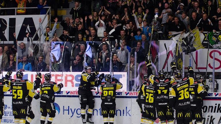 VIK Hockey jublar med fansen. Foto: Mattias Forsberg.