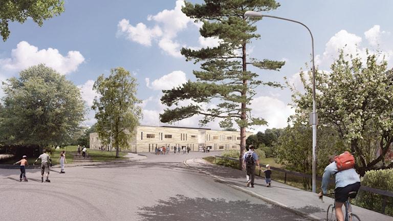 Fasad skiss över nya Kung Karls skola i Kungsör se ut. Illustration: AQ Arkitekter.