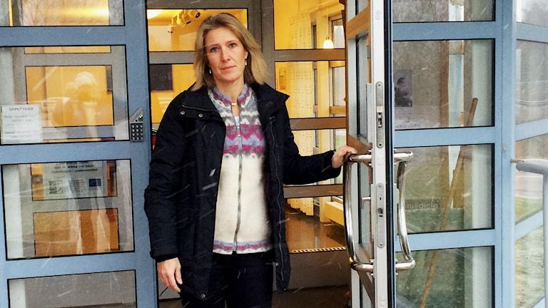 Carina Sandor, kommunstyrelsens ordförande i Skinnskatteberg. Foto: Monica Elfström. Sveriges Radio.