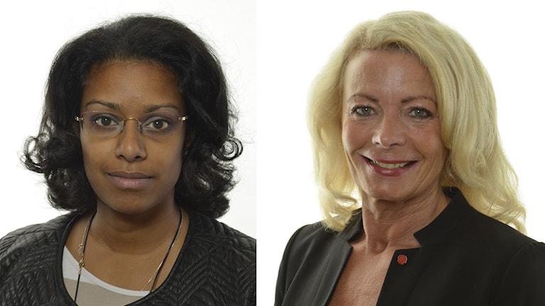 Åsa Coenraads (M) och Pia Nilsson (S). Foto: Riksdagsförvaltningen.
