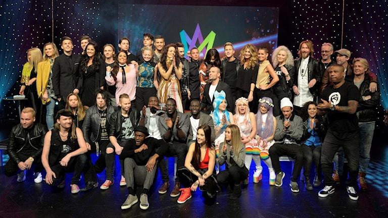 Alla artisterna i Melodifestivalen 2016. Foto: Jonas Ekströmer/TT.