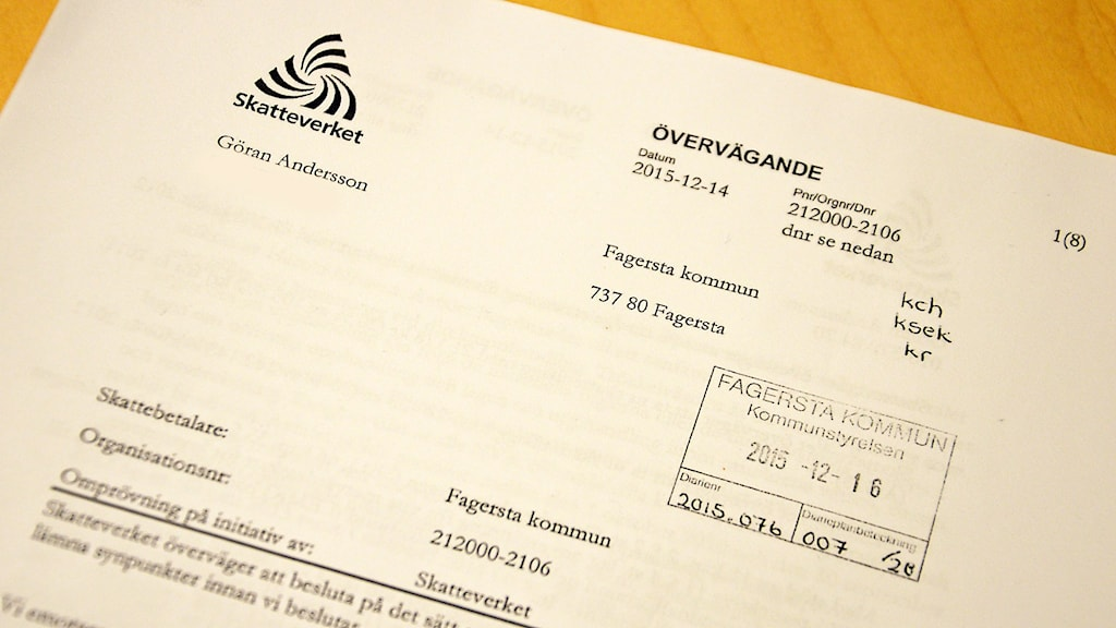 Skatteverkets övervägande. Foto: Eva Kleppe/Sveriges Radio.