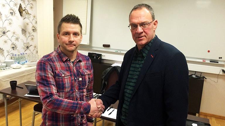Marino Wallsten (S) och Jan Johansson (M) ska samarbeta. Foto: Terje Lund/Sveriges Radio.