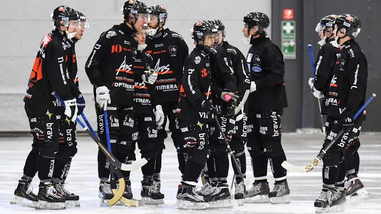 Tillberga Bandy firar ett mål. Foto: Stefan Lindgren.