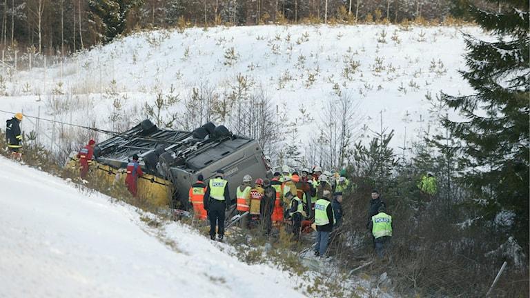 Bussolyckan utanför Arboga 2006. Foto: Dan Lindberg/TT.
