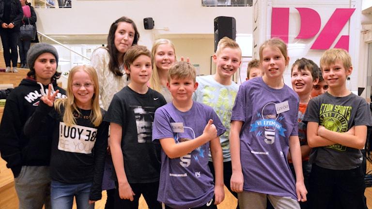 Hagabergskolan segrade efter en jämn match. Foto: Eva Kleppe/Sveriges Radio.