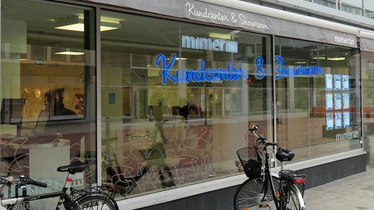 Skyltfönstret till Mimers kundcenter i Västerås. Foto: Monica Elfström/Sveriges Radio