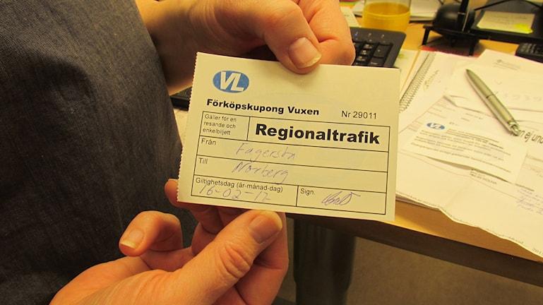 Bussbiljett till vården VL.