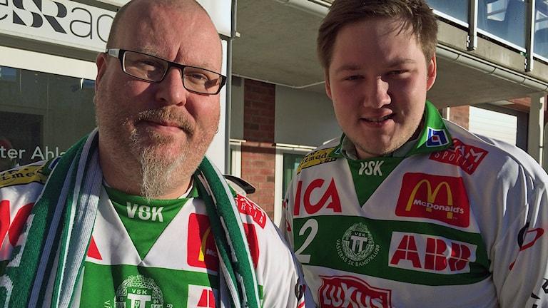 VSK Sports ordförande Nicke Linder och Emil Johansson från VSK Tifo.
