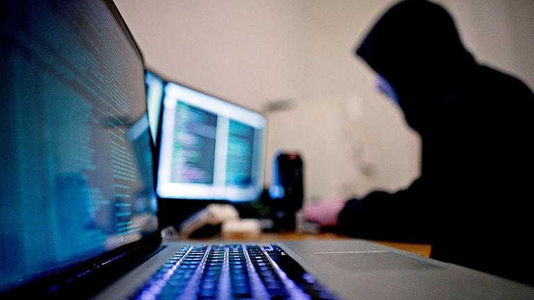 Hackare sitter framför flera datorskärmar.