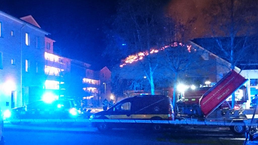 Gymnastikhallen totalförstördes i branden.