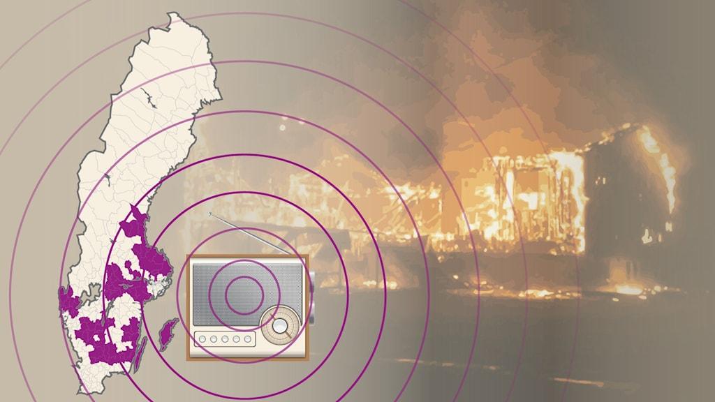 Illustration med en brand i bakgrunden av en sverigekarta och en radio.