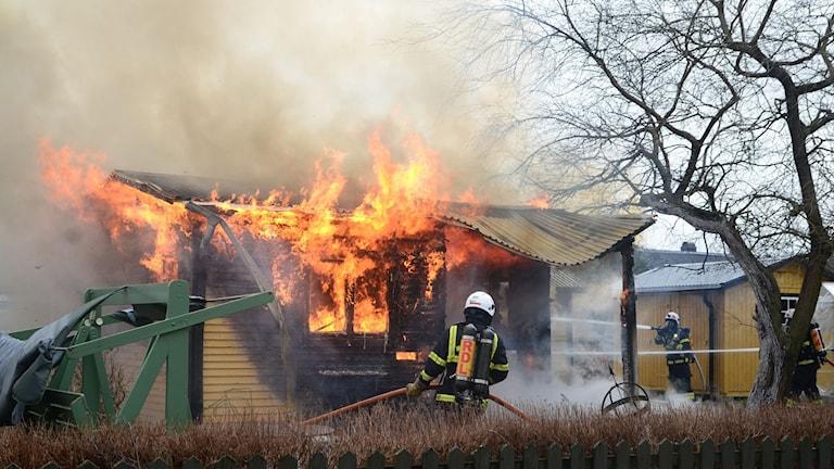 Räddningstjänsten bekämpar branden.