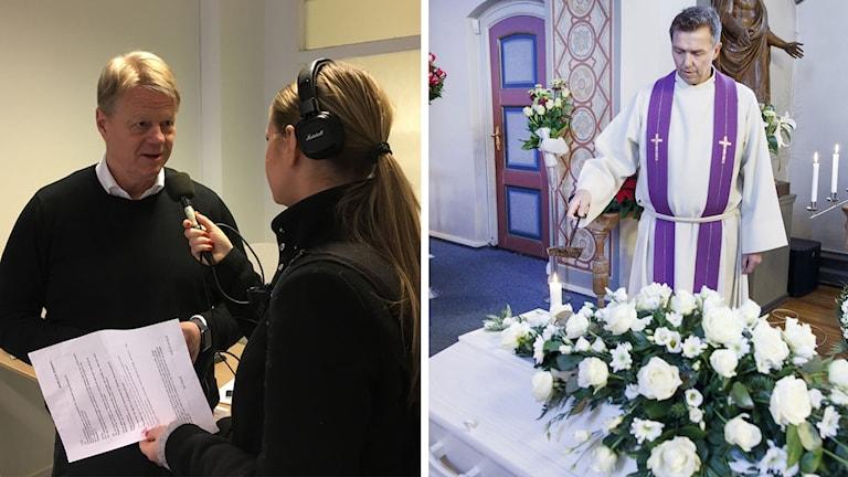 Magnus Bosson på Västerås Begravningsbyrå intervjuas av Kelu Rothoff.