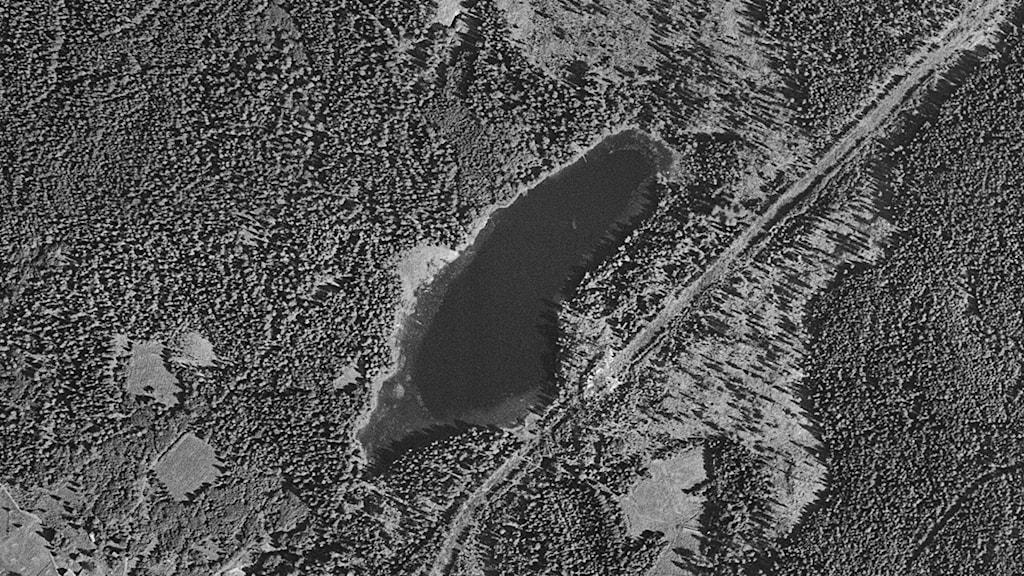 Flygfoto Semla Dammsjö år 1957.