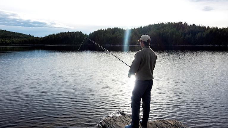 Fiskare vid sjö.