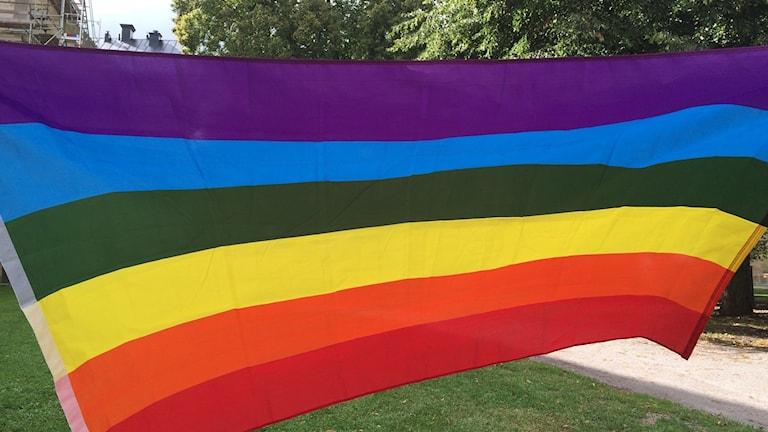 Regnbågsflagga.