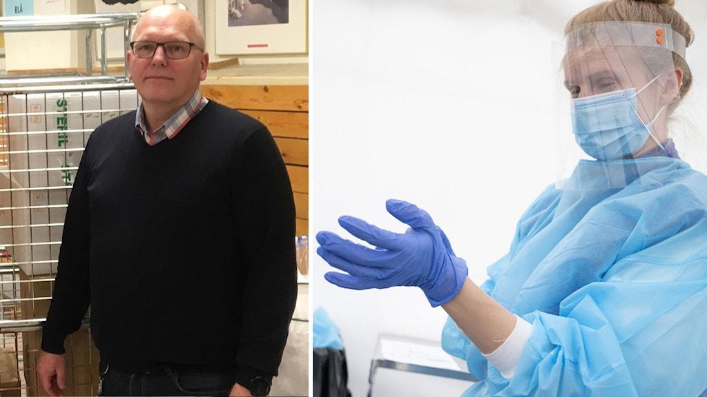 Jan Hallberg, administrativ direktör på region Västmanland. Samt en genrebild på en person inom vården iklädd skyddsutrustning.