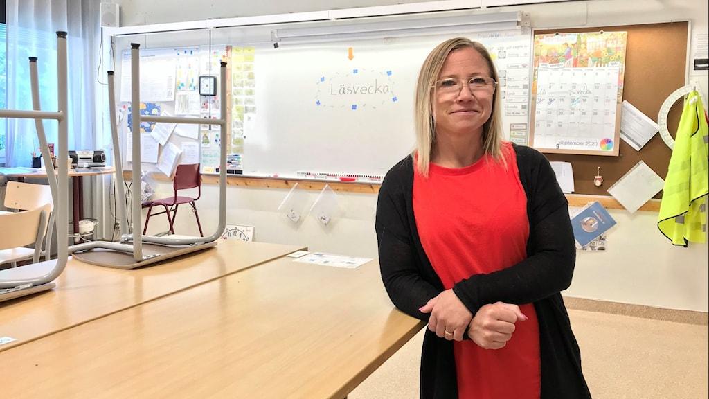 Linda Stensson, lärare Alfaskolan i Fagersta, i ett av skolans klassrum.