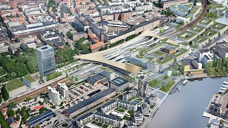 Så här ser planerna på ett nytt resecentrum i Västerås ut. Grafik: Arkitektbyrån Big.