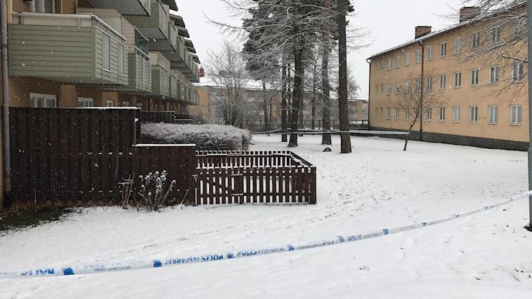 Avspärrningar vid mordplatsen på Skallberget