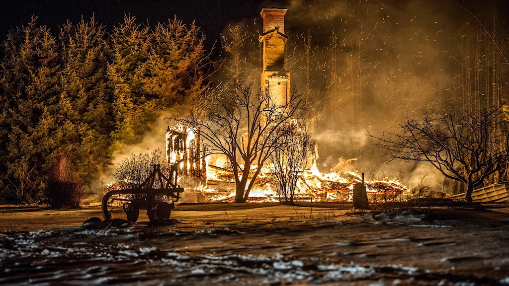 Villan i Sörsalbo blev helt övertänd.