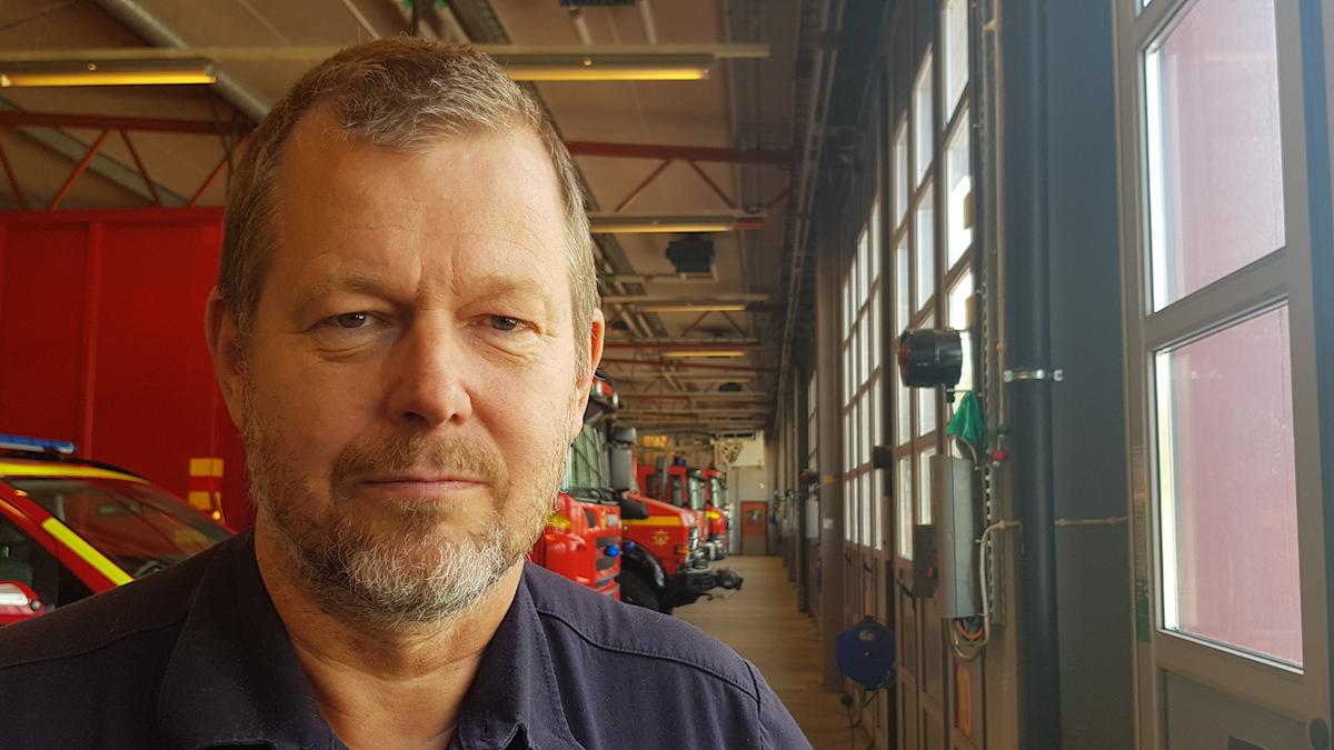 Åke Broman förbundsdirektör MBR brandstationen på Vallby i Västerås