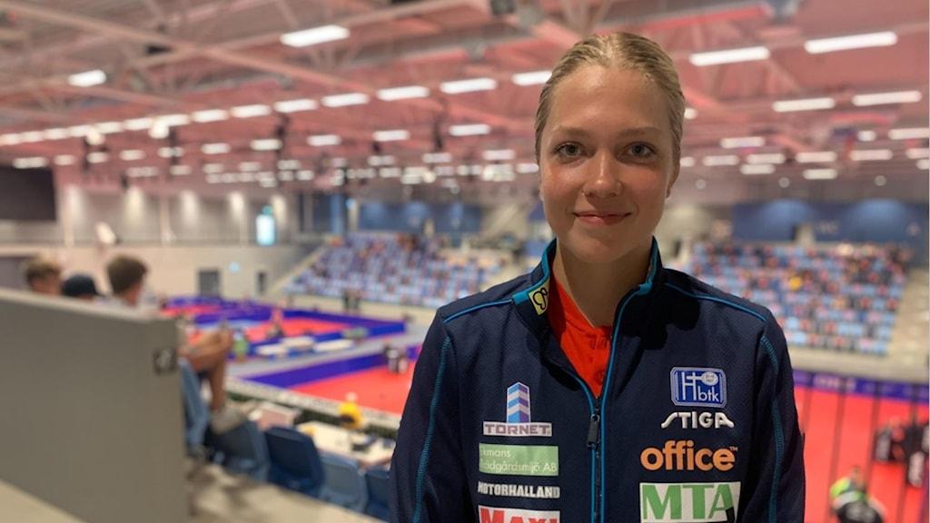Bordtennisspelaren Stina Källberg, som tidigare gått på riksidrottsgymnasiet i bordtennis i Köping.