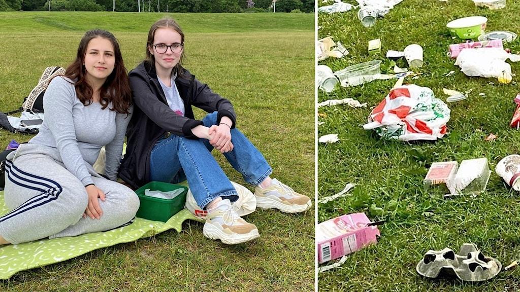 Västeråsarna Marcela Lazić och Hanna Johansson har picknick på en gräsmatta, finns också bild på skräp.