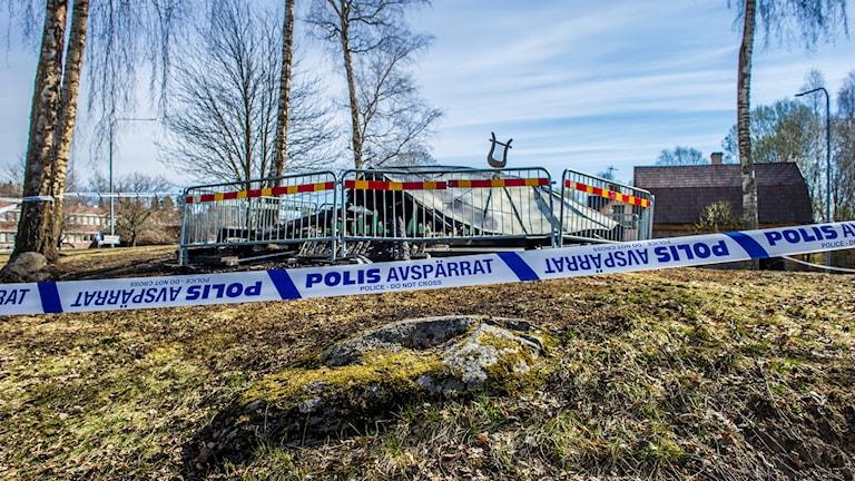 Den nedbrunna Ejalundspaviljongen i Fagersta.