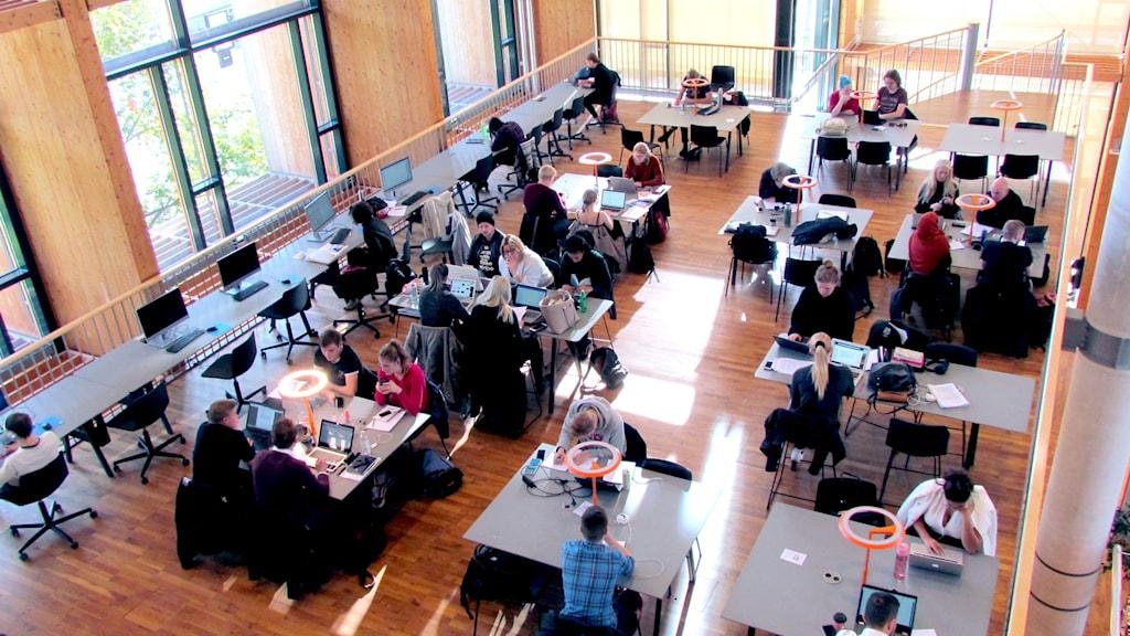 Studenter i biblioteket på Mälardalens högskola