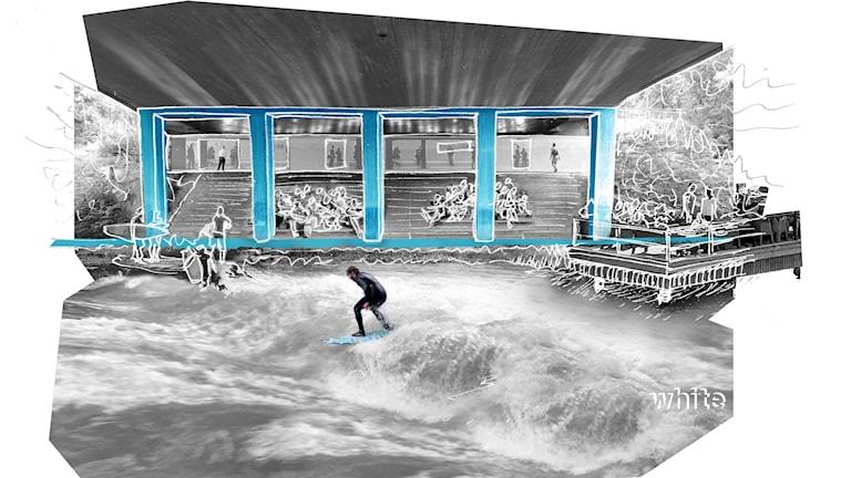 Arkitektbyrån Whites surfanläggning under Skarpskyttebron